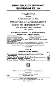 Energy and Water Development Appropriations for 2000  Department of Energy  Environmental Management and Commercial Waste Management PDF