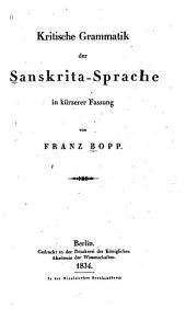 KRITISCHE GRAMMATIK DER SANSKRITA-SPRACHE IN KURZERER FASSUNG