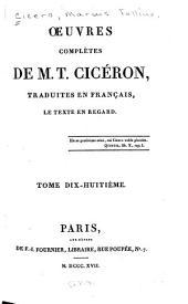 Oeuvres complètes de M.T. Cicéron: Volume18