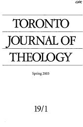Toronto Journal of Theology PDF