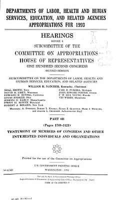Departments of Labor  Health and Human Services  Education  and Related Agencies Appropriations for 1993