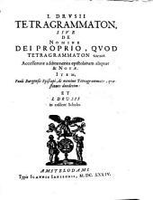 Tetragrammaton, sive de nomine Dei proprio