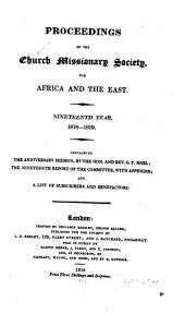 Proceedings of the Church Missionary Society for Africa and the East...: Volume 19