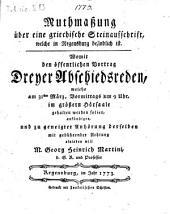 Muthmaßung über eine griechische Steinaufschrift, welche in Regensburg befindlich ist