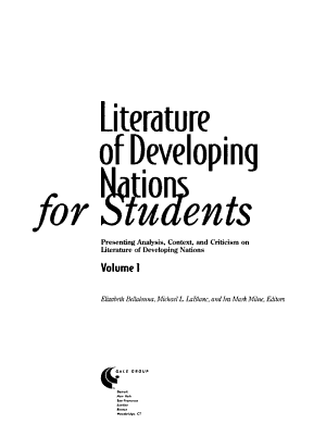 Literature of Developing Nations for Students PDF