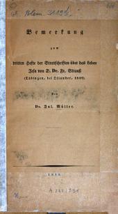 Bemerkungen zum dritten Hefte der Streitschriften uber das Leben Jesu von D. Dr. Fr. Strau