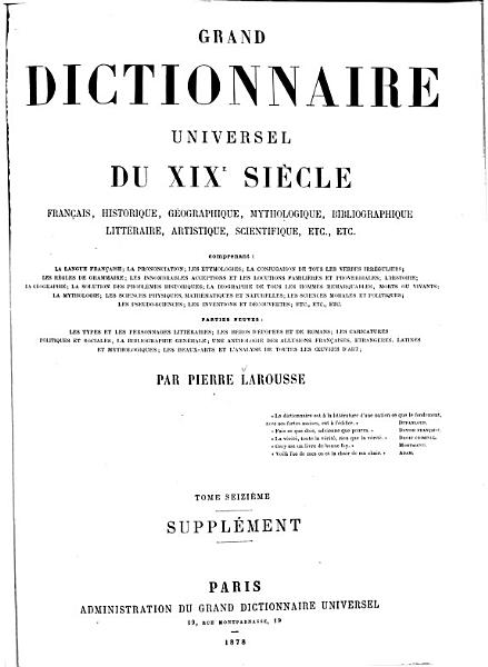 Download Grand Dictionnaire Universel  du XIXe Siecle  Francais   1   2  supplement 1878 90  Book