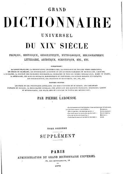 Download Grand Dictionnaire Universel  du XIXe Siecle  Francais   1   2  supplement 1878 90  Book