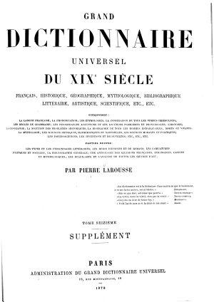 Grand Dictionnaire Universel  du XIXe Siecle  Francais   1   2  supplement 1878 90