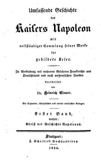 Umfassende Geschichte des Kaisers Napoleon PDF