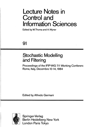 Stochastic Modelling and Filtering PDF