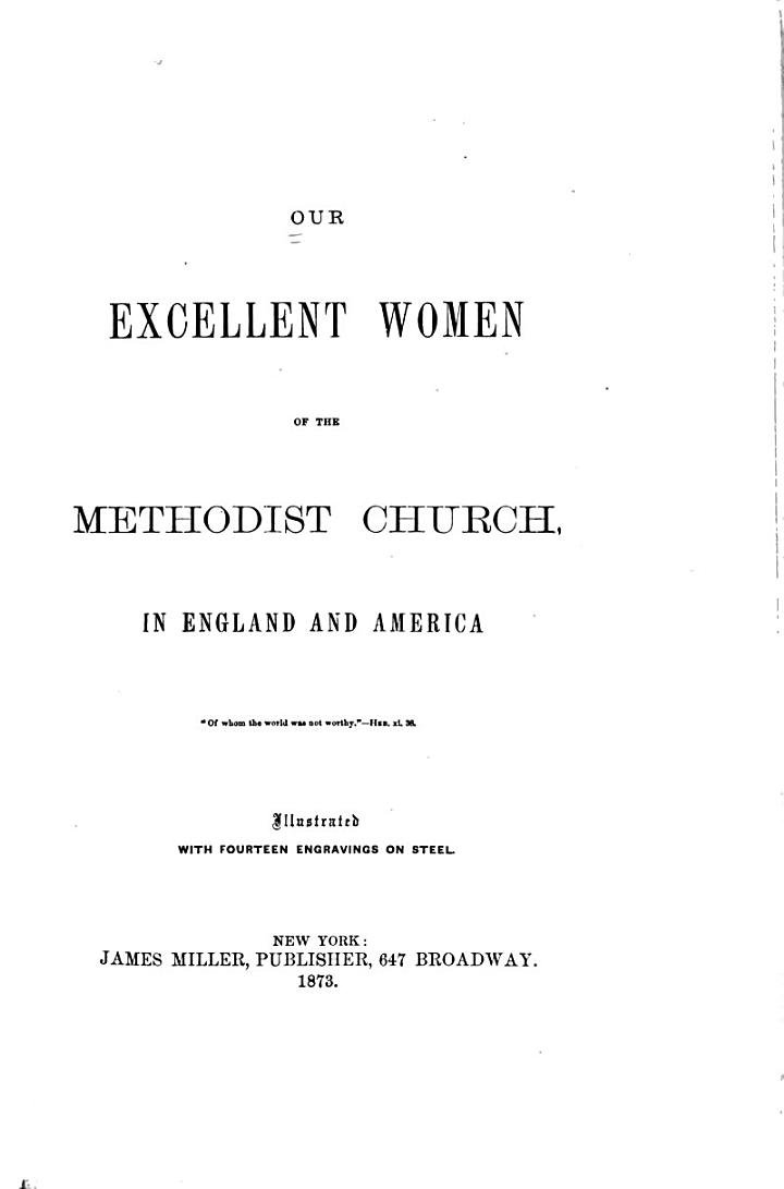 Our Excellent Women of the United Methodist Church in England and America