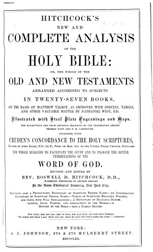 Hitchcock s New and Complete Analysis of the Holy Bible