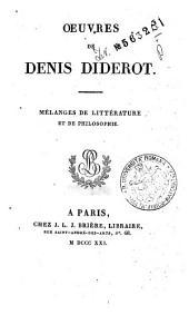 *Oeuvres completes de Diderot tome 1 [-26].: 3: Oeuvres de Denis Diderot. Melanges de litterature et de philosophie