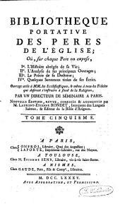 Bibliothèque portative des Pères de l'Eglise: Volume5