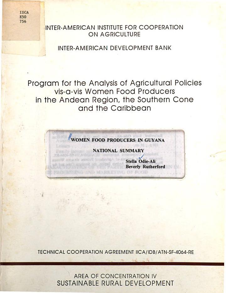 Women Food Producers in Guyana National Summary