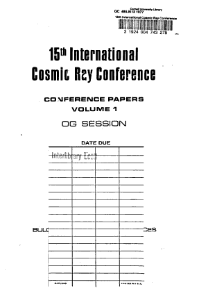 15th International Cosmic Ray Conference : Conference Papers : Bulgarian Academy of Sciences, Plovdiv, Blgaria, August 13-26, 1977: OG session