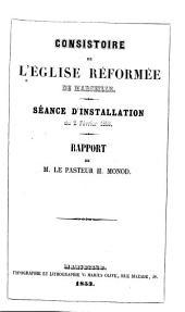 Consistoire de l'Eglise réformée de Marseille: séance d'installation du 21 févr. 1853