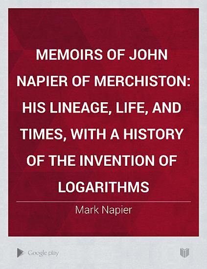 Memoirs of John Napier of Merchiston PDF