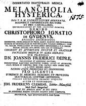 Diss. inaug. med. de melancholia hysterica