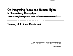 On Integrating Peace and Human Rights in Secondary Education PDF