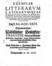 Exemplar litterarum latinarum ... ad catholicos Helvetios