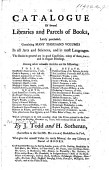 A Catalogue Of Several Libraries And Parcels Of Books To Be Sold December 11 1770 Etc