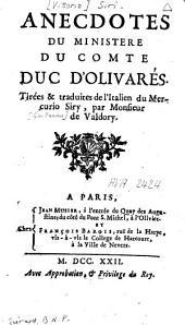 Anecdotes du ministère du comte duc d'Olivarés