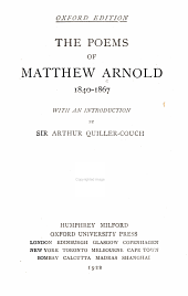 The Poems of Matthew Arnold, 1840-1867