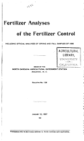 Bulletin - Agricultural Experiment Station, North Carolina State College: Issues 136-169