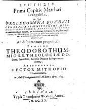Exeēgēsis primi capitis Matthaei Evangelistae