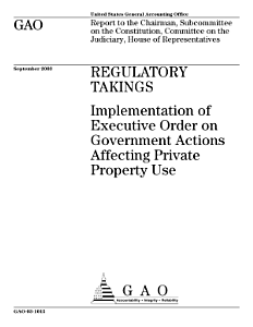 Regulatory takings implementation of Executive Order on government actions affecting private property use