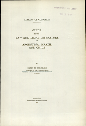 Guide to the law and legal literature of Argentina, Brazil and Chile