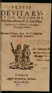 Oratio de vita rustica ¬Nicodemi ¬Frischlini ...: recitata Tubingae, anno M. D. LXXVIII. triduo, mensis Novembris