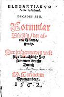 Elegantiarum Veteris Adami Decades sex  Formular B  chlin  der alten Adamssprache PDF