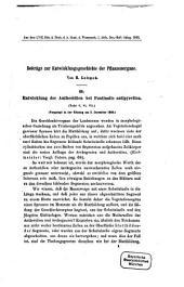 Beiträge zur Entwicklungsgeschichte der Pflanzenorgane: II. Entwicklung der Antheridien bei Fontinalis antipyretica : Tafel V, VI, VII ; vorgelegt in der Sitzung am 3. December 1868