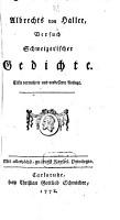 Albrechts von Haller      Versuch Schweizerischer Gedichte PDF