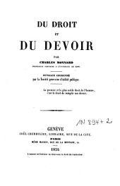 Du droit et du devoir: ouvrage couronné par la Société genevoise d'utilité publique