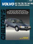 Chilton s Volvo 240 740 760 780 940 960 1990 93 Repair Manual PDF