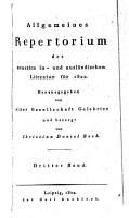 Allgemeines Repertorium der neuesten in  und ausl  ndischen Literatur PDF