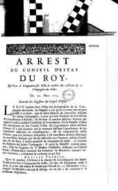 Arrest du Conseil d'Estat du roy, qui fixe à cinquante-six mille le nombre des actions de la Compagnie des Indes. Du 22. mars 1723. Extrait des registres du Conseil d'Estat