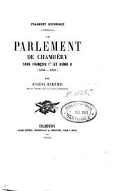 Le parlement de Chambéry sous François I et Henri II: 1536-1559
