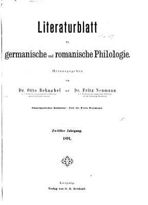 Literaturblatt f  r germanische und romanische Philologie PDF