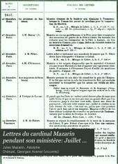 Lettres du cardinal Mazarin pendant son ministère: Juillet 1657-août 1658. 1894