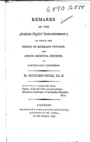 Remarks on the Arabian Nights Entertainments