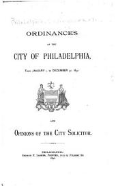 Ordinances of the City of Philadelphia