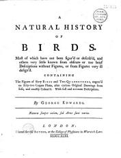 A Natural History of Birds    by George Edwards    PDF