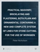Practical Masonry  Bricklaying and Plastering  Both Plain and Ornamental PDF