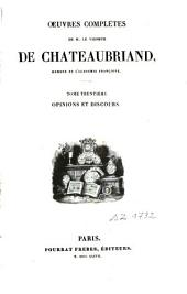 Oeuvres complètes: Opinions et discours. T. 30