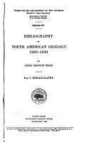 Bibliography of North American Geology  1929 1939 PDF